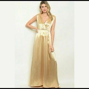 Alythea Gold Satin Evening gown